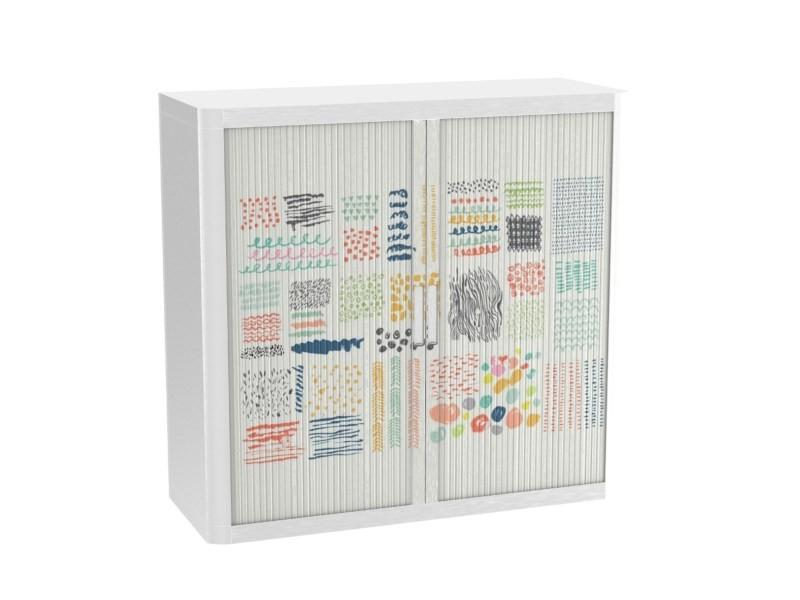 Armoire de bureau métalique porte coulissante h 1m - l'artiste