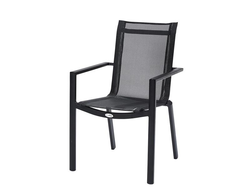 Fauteuil de jardin en aluminium et textilène noir W_603860