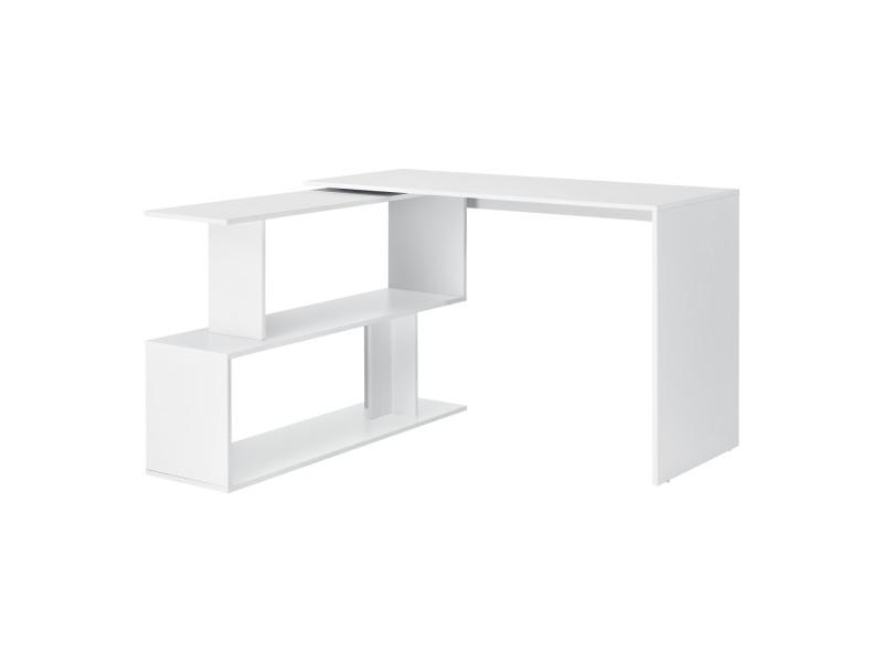 Bureau gigogne design avec partie étagère bureau de coin extension panneau de particules mélaminé 77 x 120 x 50 cm blanc [en.casa]