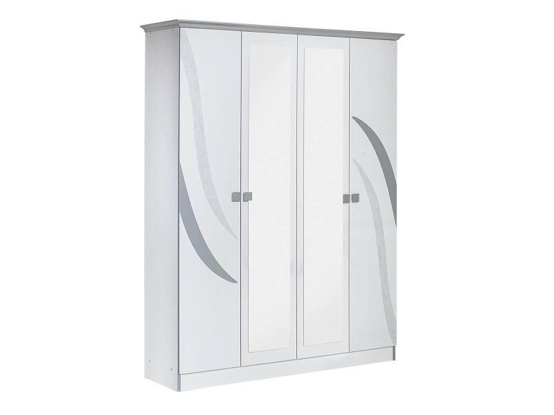 Saveria blanche - armoire 4 portes avec miroir central