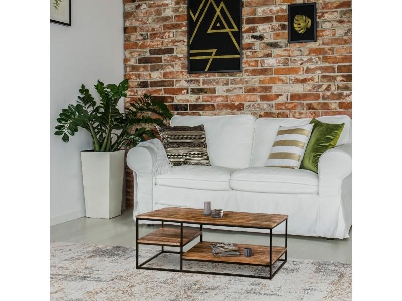 Womo-design table basse de salon avec étagères, 120 x 60 cm, en bois massif de manguier, cadre en métal noir enduit de poudre, design industriel, fait à main, table d'appoint à café, table de canapé 390003216