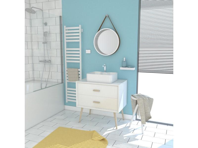Meuble salle de bain scandinave blanc 80 cm sur pieds avec tiroir, vasque a poser et miroir rond