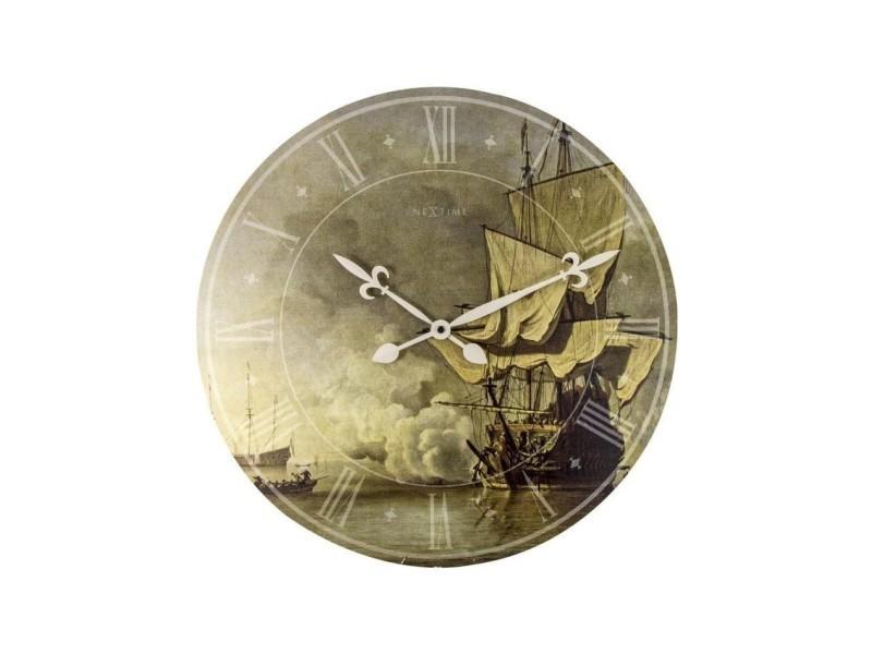 Nextime horloge murale - the shot- bois - or ø 50 cm