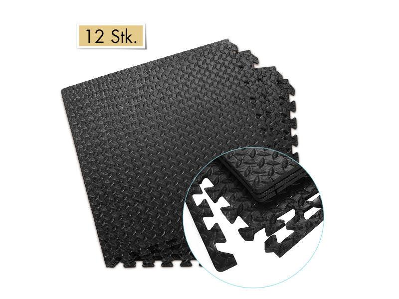 Giantex 12 dalles tapis de protection de sol puzzle tapis de jeu mousse pour enfant / bébé carrées en mousse eva 60 x 60 x 1, 2 cm noir