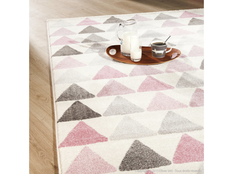 Tapis scandinave rose à motif petit triangle 160x230cm kolmio ...