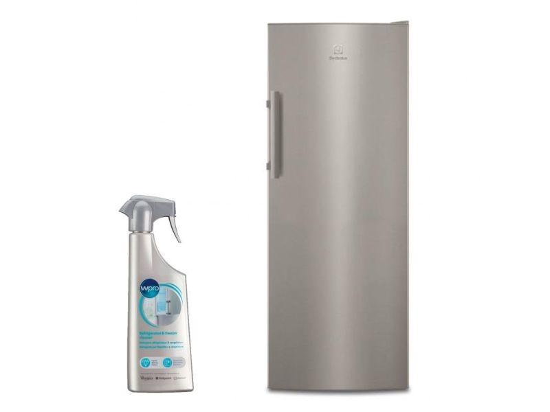 Réfrigérateur frigo simple porte inox 314l froid brassé freestore