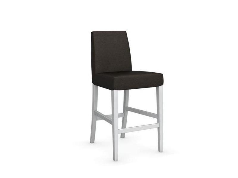Chaise de bar latina piétement hêtre laqué blanc assise tissu café 20100839335