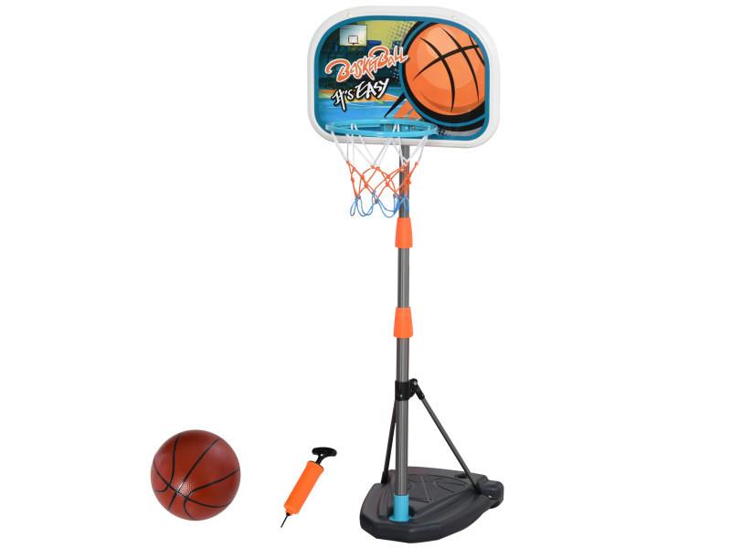 Panier de basket-ball sur pied avec poteau base lestage panneau + ballon + pompe hauteur réglable 1,26 – 1,58 m