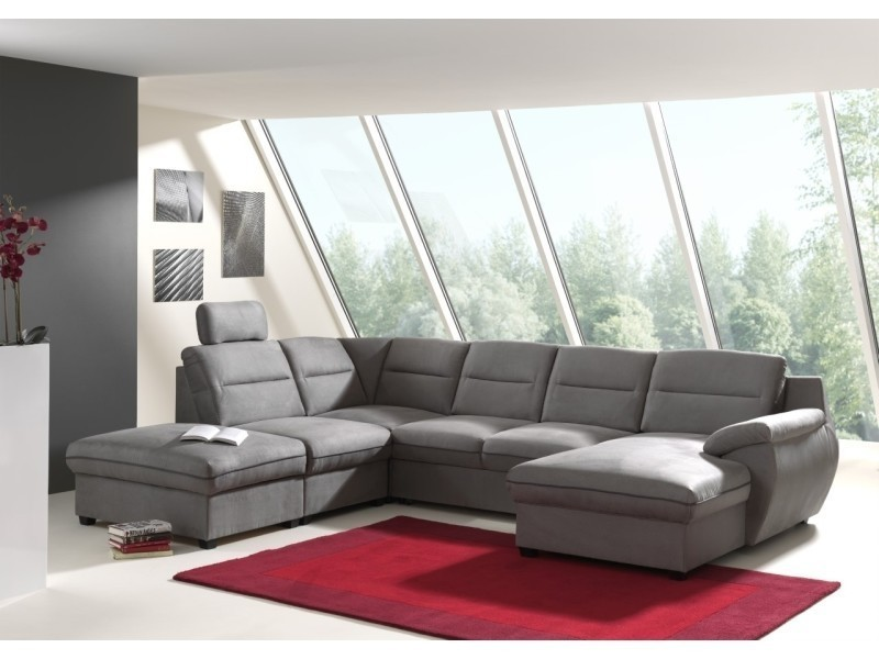 Canapé d'angle panoramique convertible tissu gris stan angle droit-
