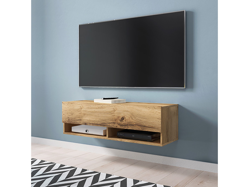 Meuble Tv Wander 100 Cm Effet Chene Wotan Sans Led Design