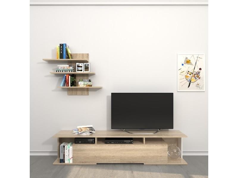 Homemania meuble tv bounty - avec des étagères, des tablettes, des portes - du salon - sonoma en bois, 170 x 32 x 36 cm