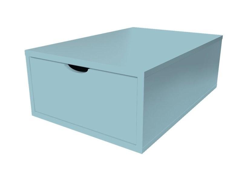 Cube de rangement bois 75x50 cm + tiroir bleu pastel CUBE75T-BP