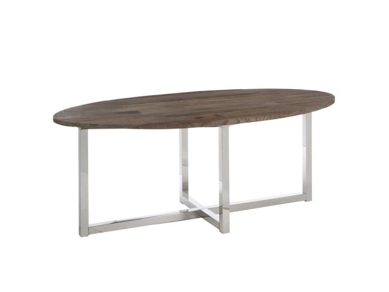 Table de repas ovale bois/inox - clemence - l 200 x l 100 x h 76 - neuf