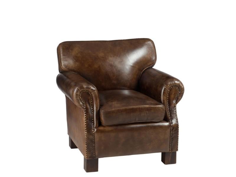 Fauteuil cuir marron 79x85x81 cm