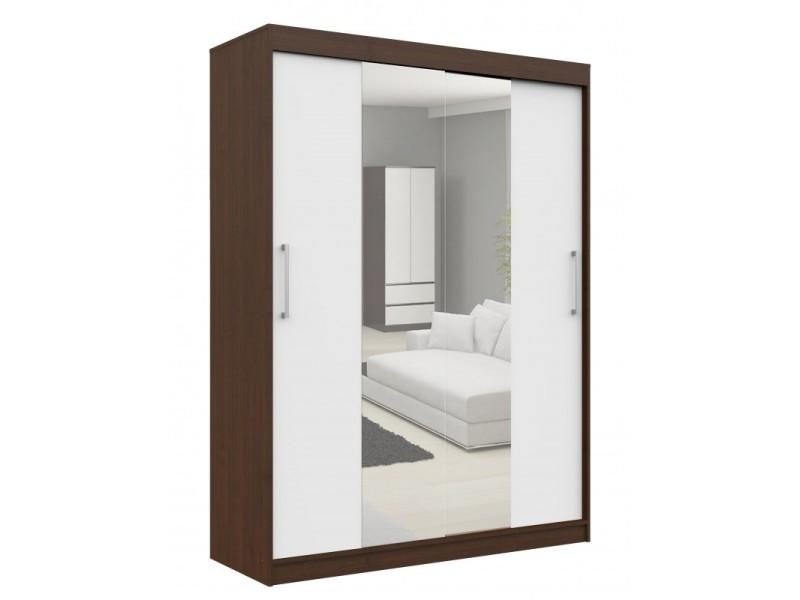 Helia - armoire à portes coulissantes + grand miroir chambre couloir salon - 200x150x60cm - armoire penderie moderne - wengé/blanc