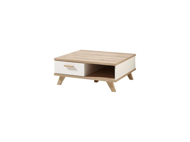 Table basse carrée 1 tiroir 1 niche en bois et piètement chêne l80cm oslo