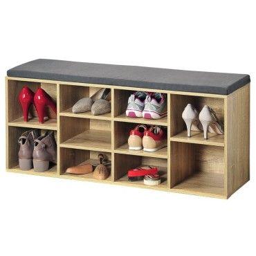 Banc de rangement chaussures avec coussin d 39 assise ch ne - Banc avec rangement chaussures ...
