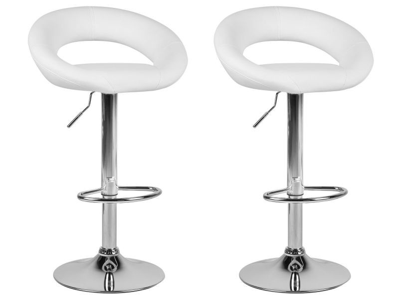 Lot de 2 chaises de bar en simili-cuir blanc peoria 154868