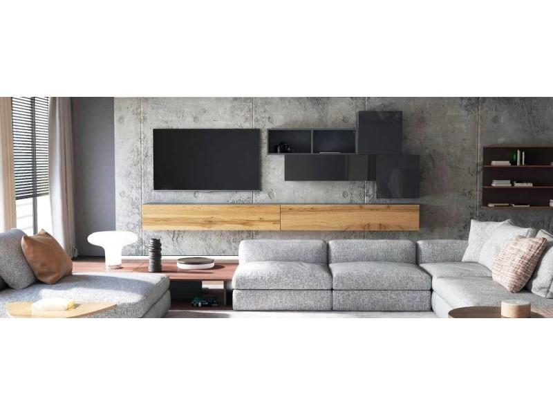 Ensemble de 6 meubles suspendus noir / aspect chêne wotan + noir laqué