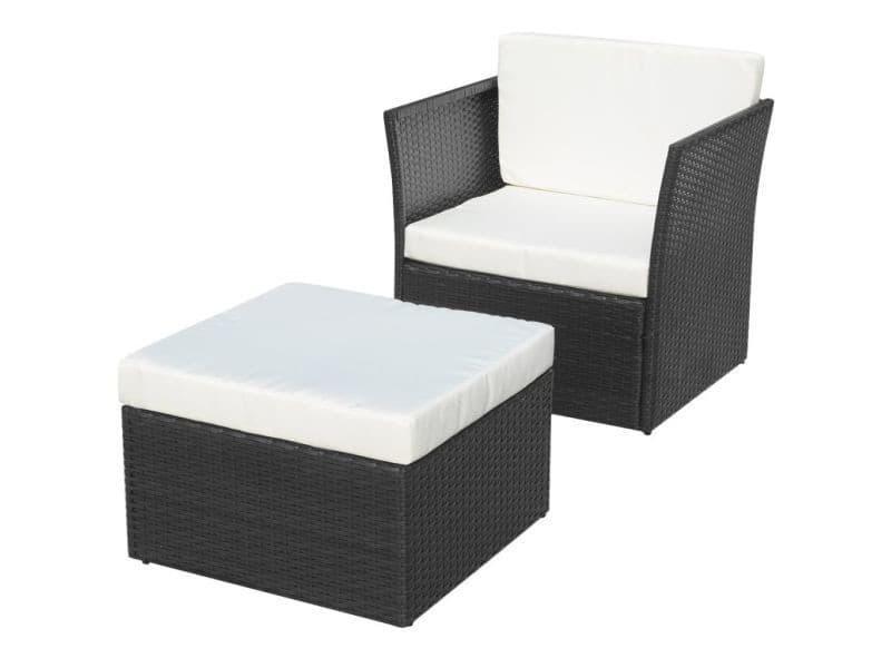 Vidaxl chaise de jardin avec tabouret noir résine tressée 41981