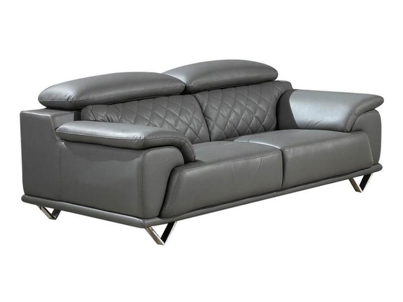 Canapé 2 places en cuir gris souris garcia {habillage_canape_cuir} gris souris