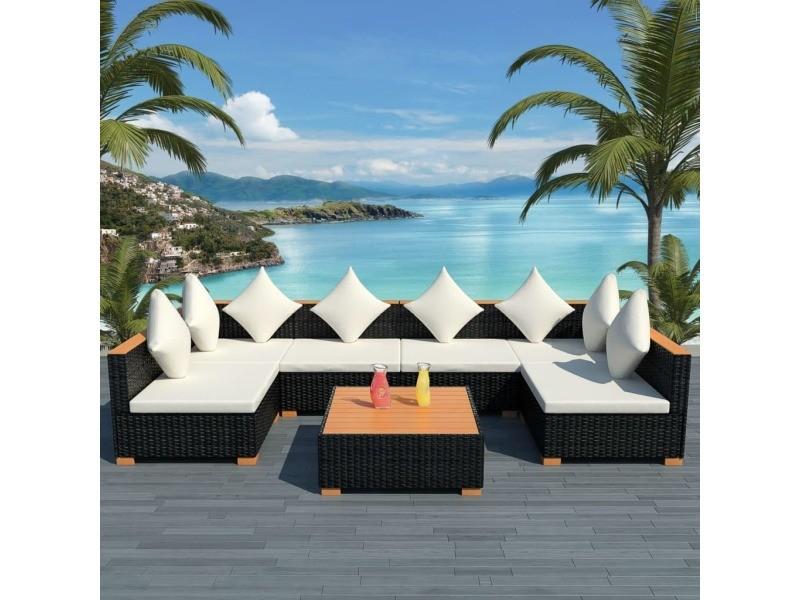 Admirable meubles de jardin gamme saint-marin mobilier de jardin 21 pcs résine tressée dessus en wpc noir