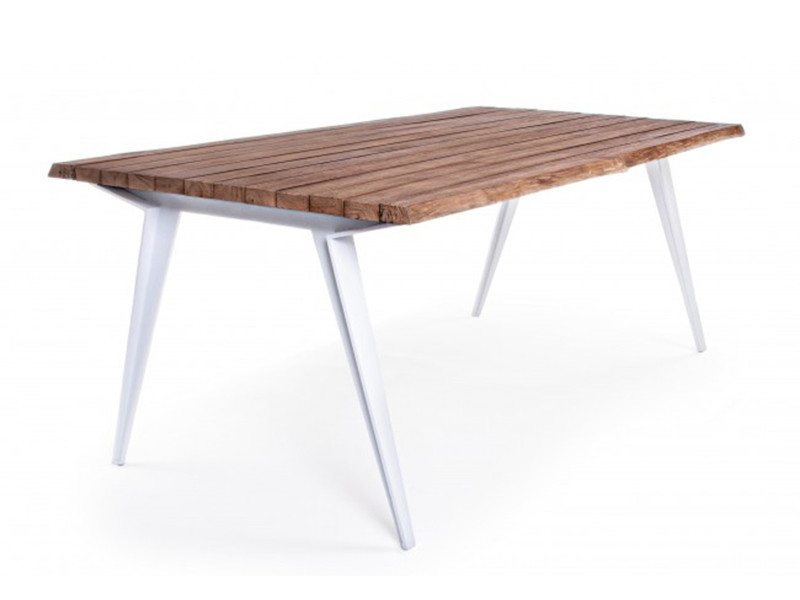 Table en aluminium coloris blanc - dim : l 200 x p 100 x h 75 cm -pegane-