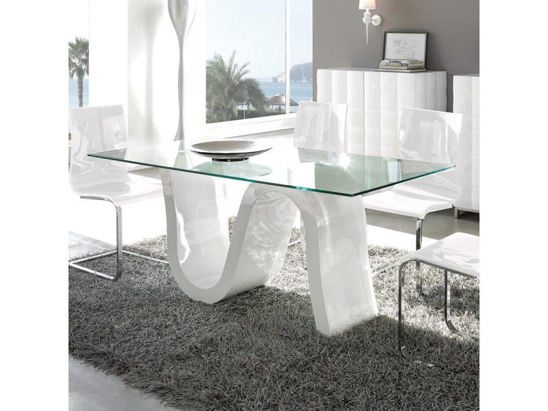 Table manger en verre tremp romy vente de nouvomeuble - Conforama table de salle a manger en verre ...