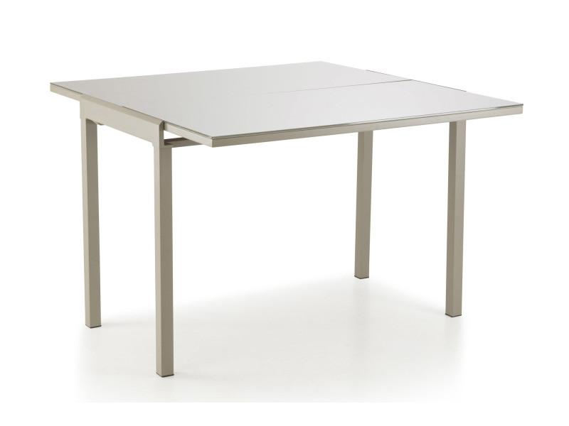 Mathilde table extensible en panneaux de fibres avec plateau en verre trempé taupe