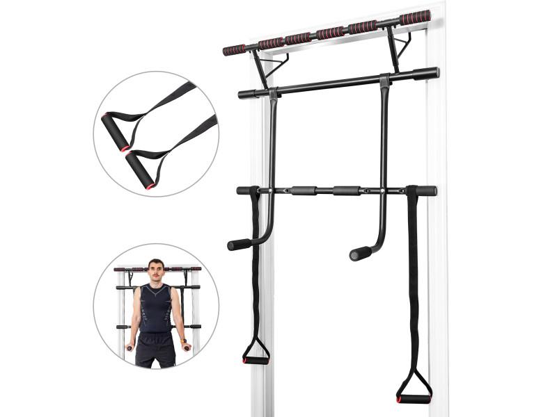 Giantex set de barre de traction mural barre de fitness pour exercices pull up, fixation sans vis jusqu'à 200kg 100 x 32,5 x 78,5 cm