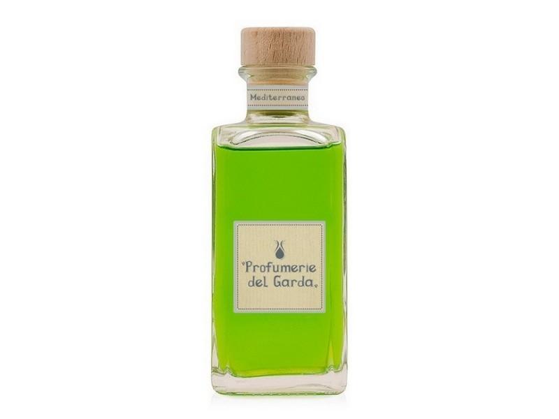 Homemania diffuseur mediterraneo - assainisseur d'air avec bâtons - parfum boisé et d'agrumes - 100 ml vert en verre, bois, parfum, 4,2 x 4,2 x 12,5 cm