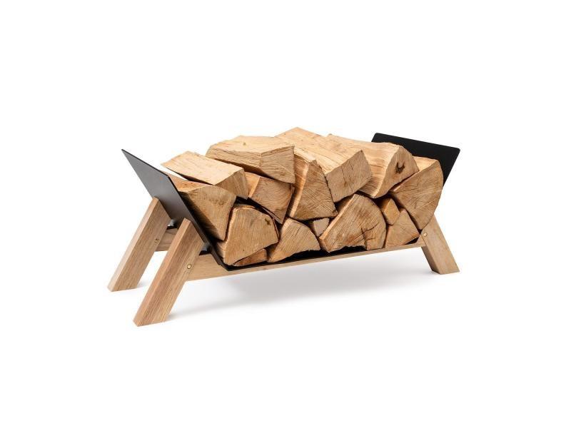 Porte-bûches blumfeldt langdon wood black - 68 x 38 x 34 cm - fer et bois