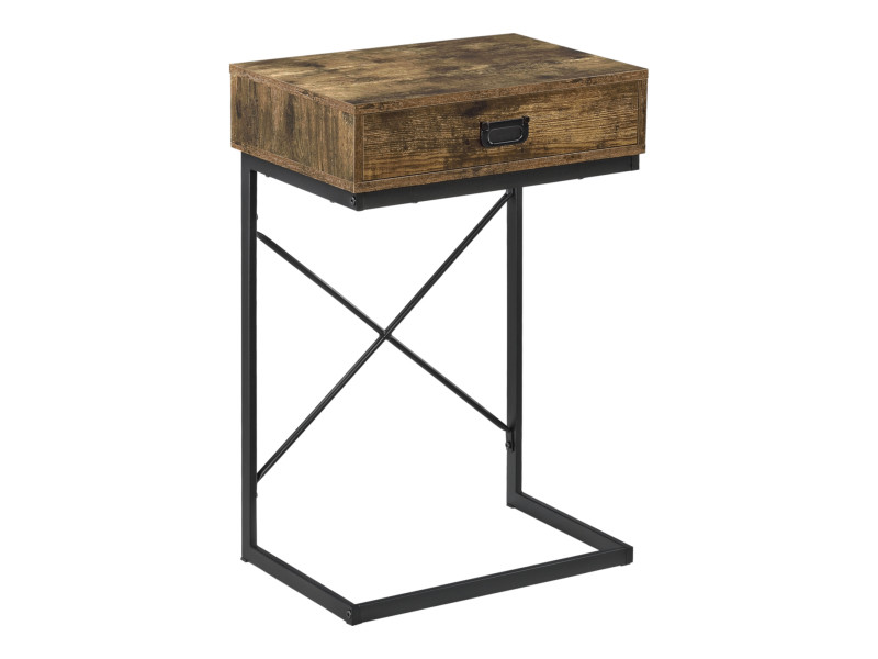 Table d'appoint avec tiroir de design épuré pour salon table basse rectangulaire table de chevet capacité de charge 10 kg acier laqué panneau de particules 67 x 45 x 35 cm noir effet bois foncé [en.casa]