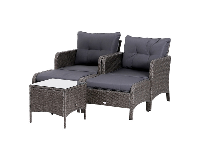 Lot de 2 fauteuils de jardin grand confort repose-pied table basse ...