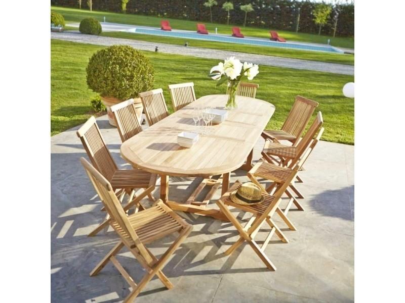 Table de jardin en bois de teck avec rallonge 10 à 12 places - Vente ...