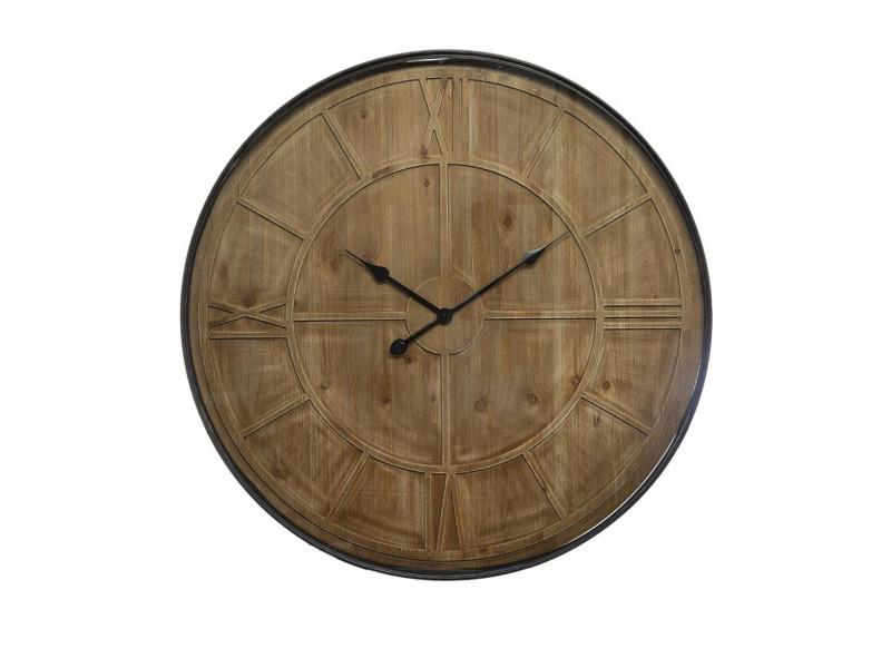 Pendule coloris noir en bois / métal - d. 80 x ep. 6 cm -pegane-