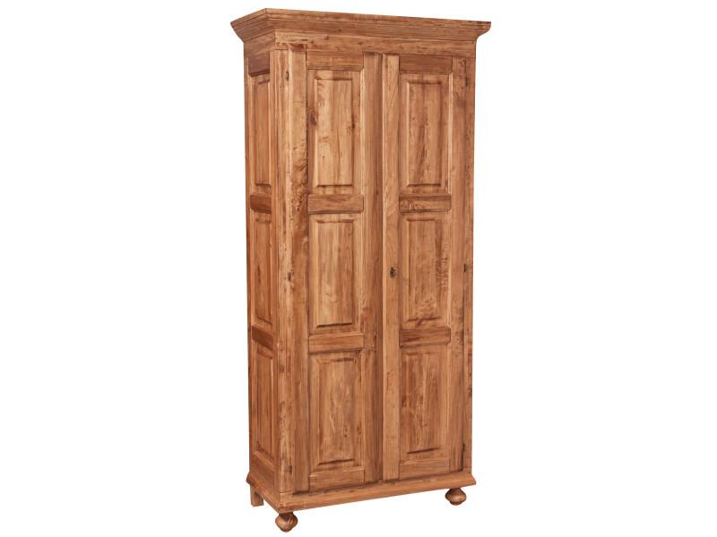 Armoire rustique en bois massif de tilleul finition naturelle l100xpr50xh210 cm