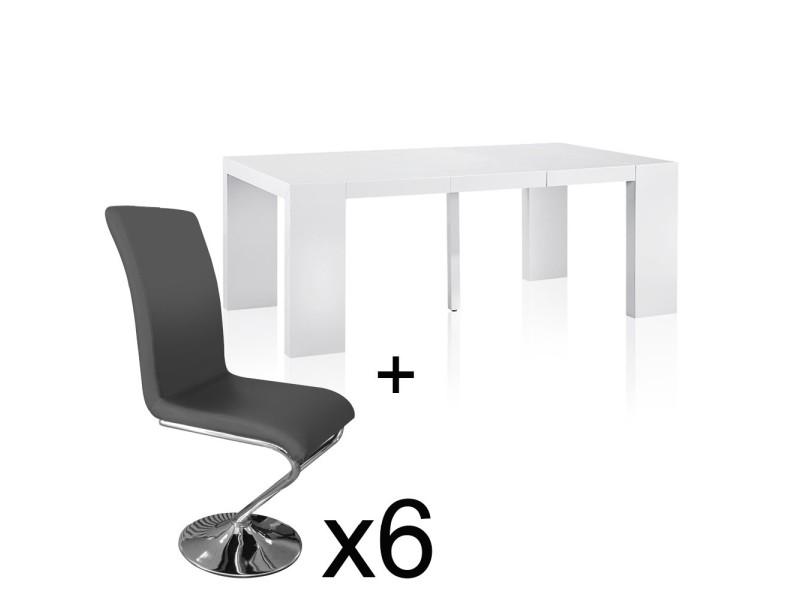 Table Extensible Blanc Laque 6 Chaises Colami Gris Vente De