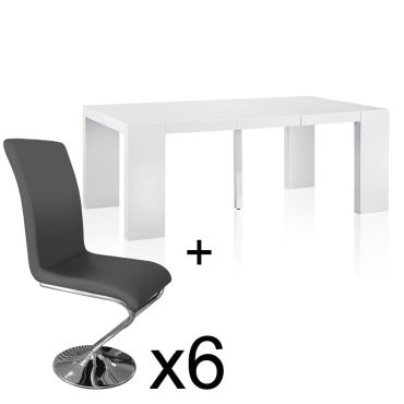 Table Extensible Blanc Laque 6 Chaises Colami Gris Vente De Table Conforama