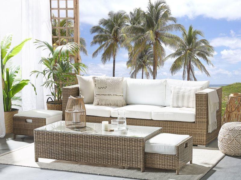 Salon de jardin 5 places en rotin coussins blancs belluno 215798