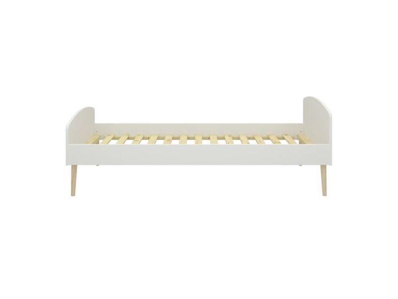 Structure de lit slk lit enfant - bois chene massif et mdf - blanc - sommier inclus - 90x200 cm