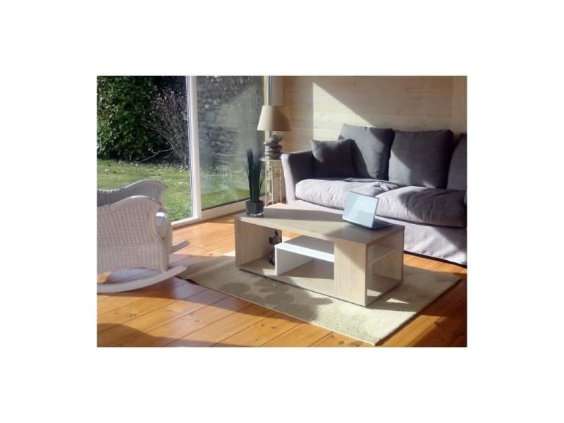 Table basse melina. Meuble moderne et tendance couleur chêne et blanc. Idéal pour votre salon. Fabrication française