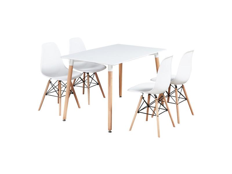 Table blanche et 4 chaises blanches - design scandinave - moda eiffel halo