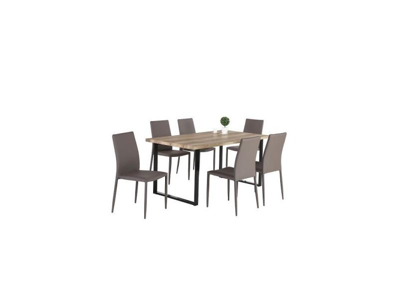 Ensemble 1 table david + 6 chaises noah grises. Set idéal pour votre cuisine ou salle à manger