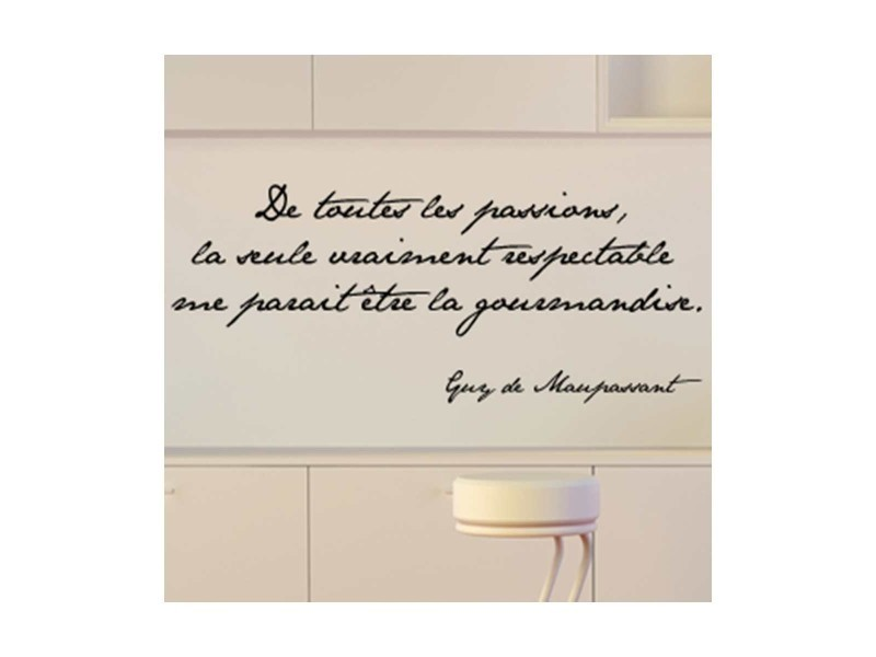 Sticker citation passion et gourmandise vente de dezign for Decoration murale gourmandise