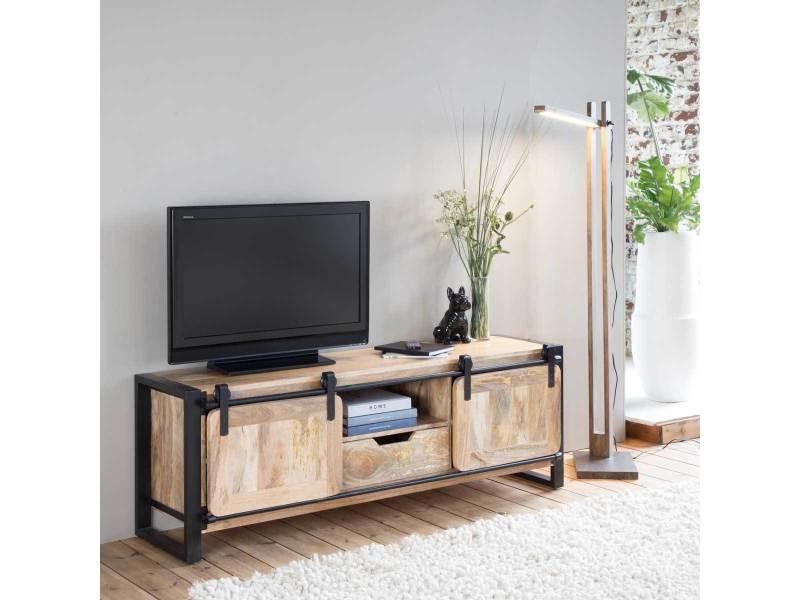 Meuble tv industriel new-york - 2 portes | mr1