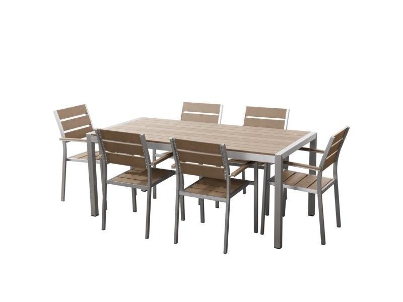 Table de jardin et 6 chaises aluminium plateau en plastique marron ...