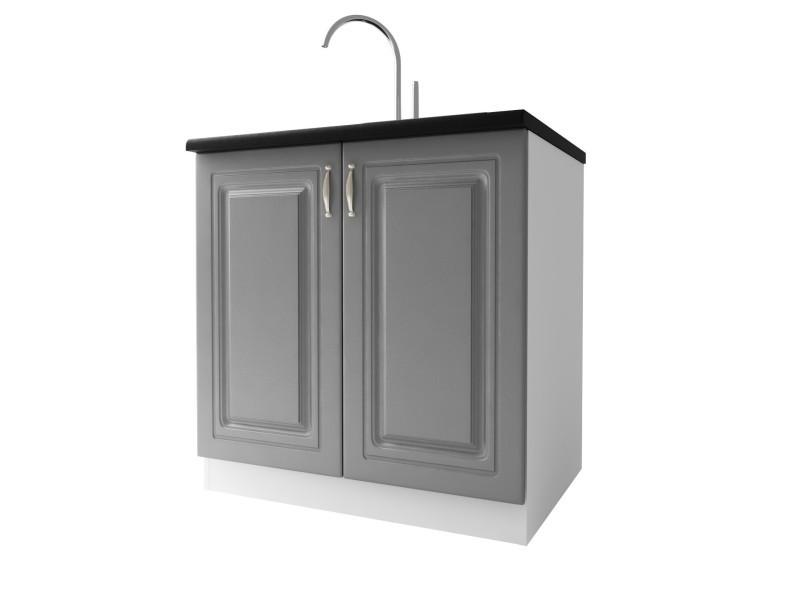 Meuble de cuisine sous-evier 2 portes 80 cm dina mélaminé avec 1 étagère gris