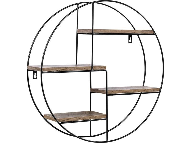 Stilista® étagère design ronde, 48x48x12 cm, couleur bois foncé, testée sans substances nocives, étagère murale, étagère flottante