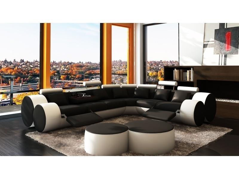 Canapé d'angle cuir noir et blanc + positions relax roma-